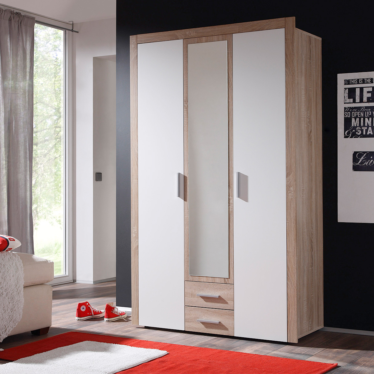 kleiderschrank axel schrank dreht renschrank sonoma eiche wei 121 cm. Black Bedroom Furniture Sets. Home Design Ideas