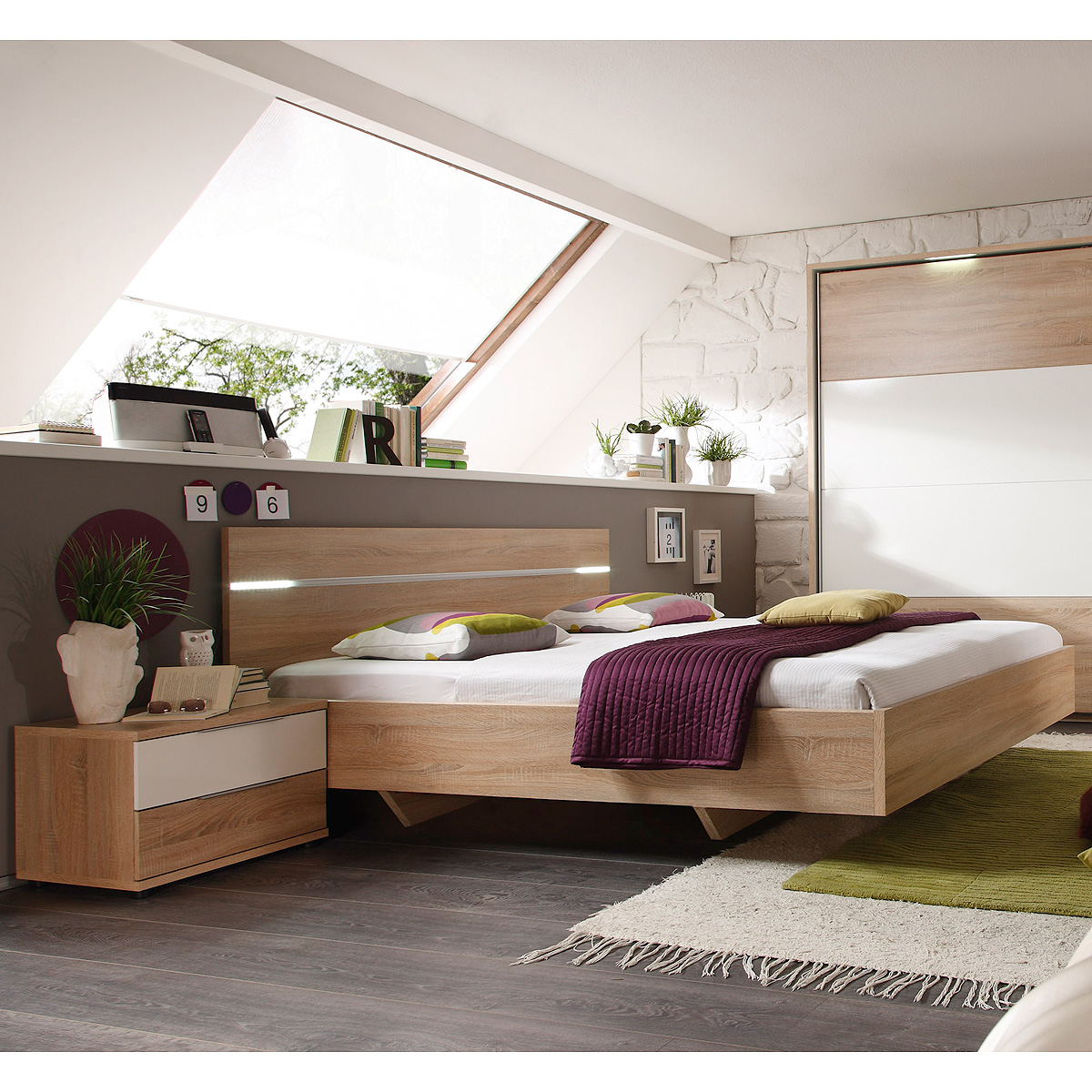 bettanlage pluto bett nachtkommode sonoma eiche wei glanz. Black Bedroom Furniture Sets. Home Design Ideas