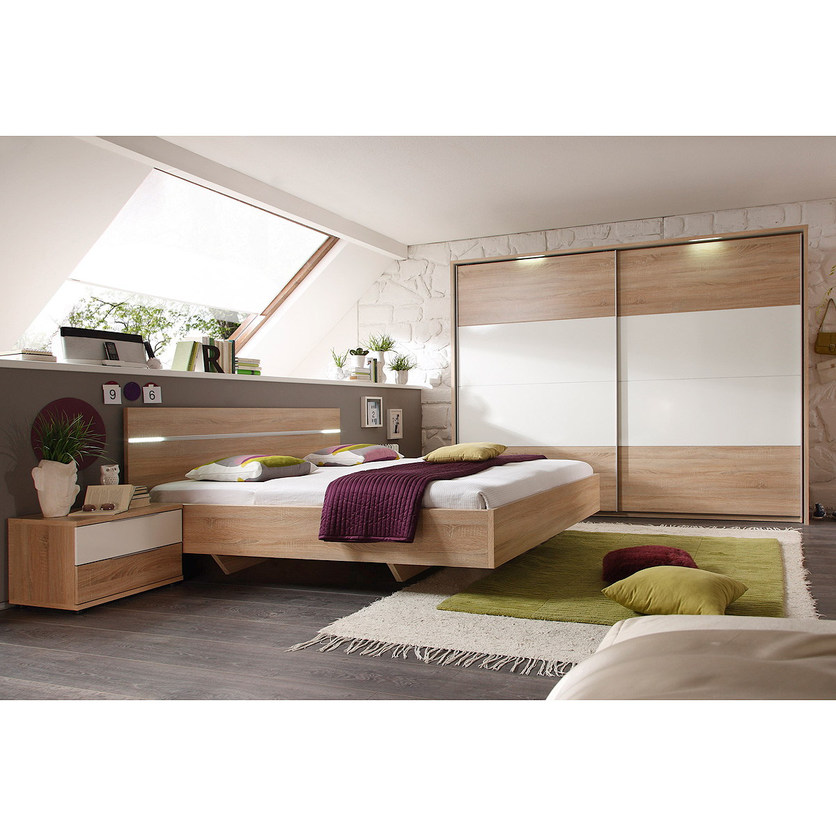 schlafzimmerset pluto bett schrank nako sonoma eiche wei glanz inkl led ebay. Black Bedroom Furniture Sets. Home Design Ideas