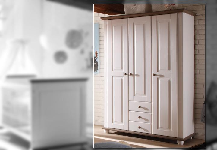 kleiderschrank laura kinderzimmer schrank kiefer massiv in wei und lava 130 cm eur 529 95. Black Bedroom Furniture Sets. Home Design Ideas