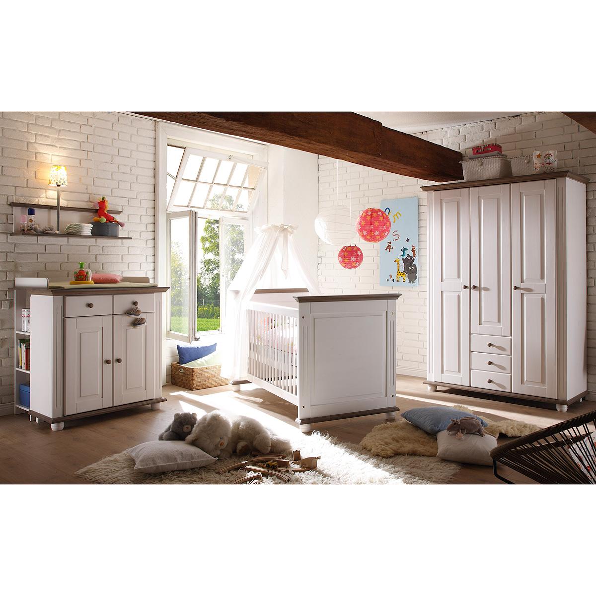 babyzimmer 3 laura kinderzimmer in kiefer massiv wei und lava. Black Bedroom Furniture Sets. Home Design Ideas