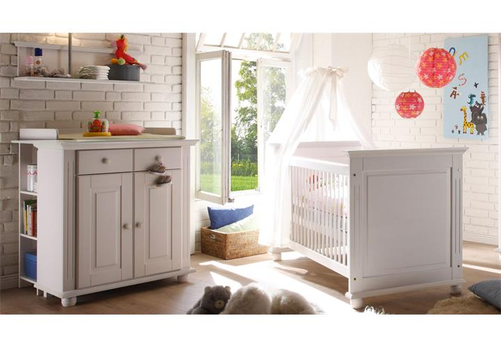 babyzimmer 4 laura kinderzimmer in kiefer massiv wei. Black Bedroom Furniture Sets. Home Design Ideas