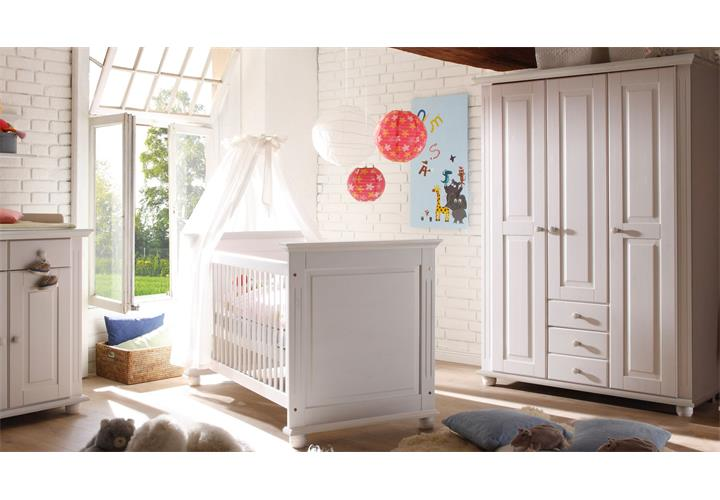 babyzimmer 4 laura kinderzimmer in kiefer massiv wei. Black Bedroom Furniture Sets. Home Design Ideas