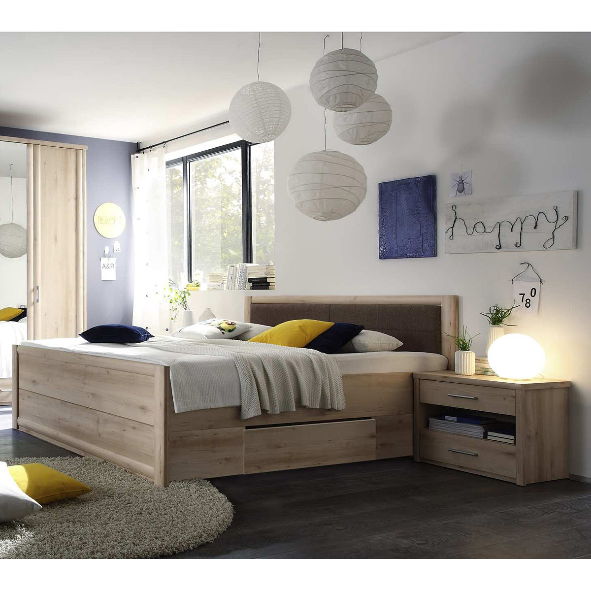 bettanlage classic bett nachtkommode in buche mit schubk sten 180x200 ebay. Black Bedroom Furniture Sets. Home Design Ideas