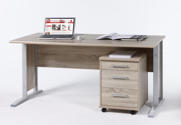 schreibtisch mit rollcontainer office line biz sonoma eiche breite 150 cm eur 149 95 picclick de. Black Bedroom Furniture Sets. Home Design Ideas