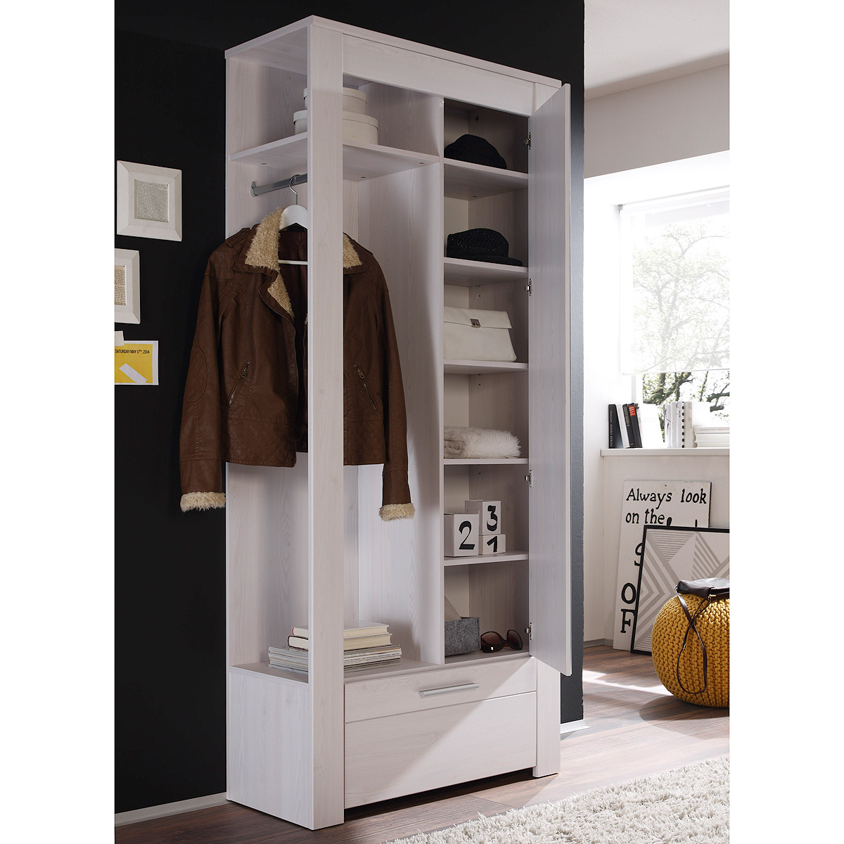 kompaktgarderobe time garderobe in sibiu l rche in wei mit spiegel ebay. Black Bedroom Furniture Sets. Home Design Ideas