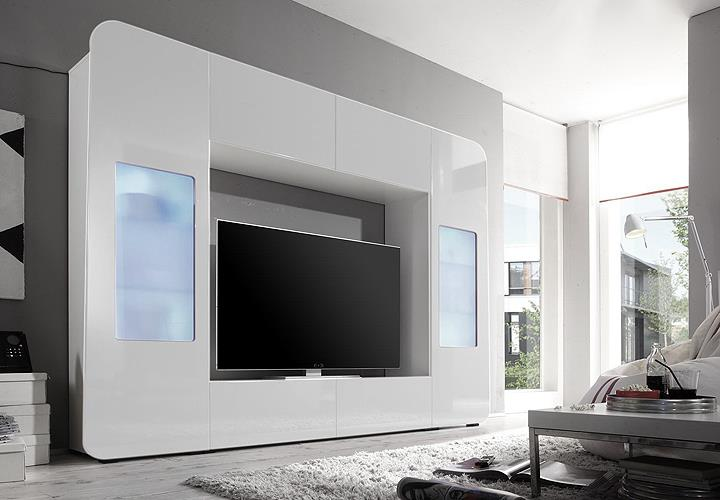 mediawand kino 2 wohnwand mediacenter wei hochglanz mit led ebay. Black Bedroom Furniture Sets. Home Design Ideas