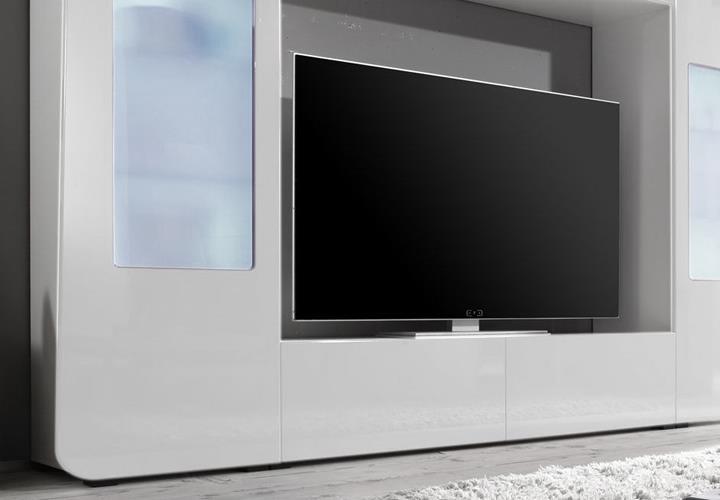 mediawand kino 2 wohnwand mediacenter wei hochglanz mit led ebay. Black Bedroom Furniture Sets. Home Design Ideas