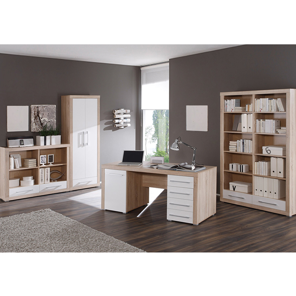 b ro cube b rom bel set 4 teilig wei und sonoma eiche schreibtisch regale. Black Bedroom Furniture Sets. Home Design Ideas