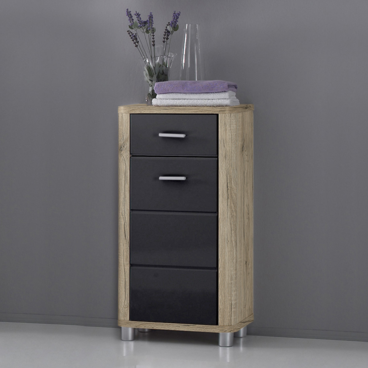 badezimmer vital bad kommode hochschrank unterschrank spiegel san remo eiche ebay. Black Bedroom Furniture Sets. Home Design Ideas
