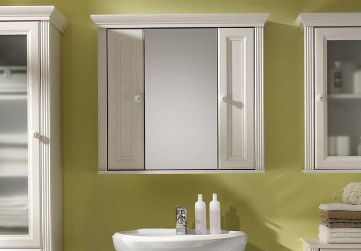 Spiegelschrank Jasmin Sibiu Lärche weiß Badezimmer Schrank Spiegel