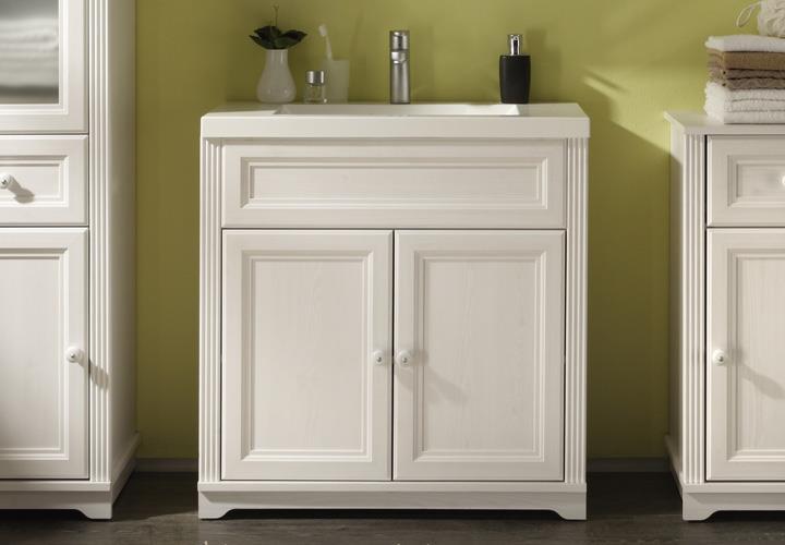 waschtisch jasmin badezimmer schrank mit waschbecken l rche wei landhaus eur 229 95 picclick de. Black Bedroom Furniture Sets. Home Design Ideas