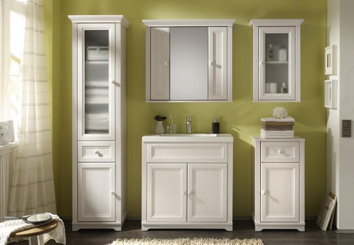 waschtisch jasmin badezimmer schrank mit waschbecken l rche wei landhaus ebay. Black Bedroom Furniture Sets. Home Design Ideas