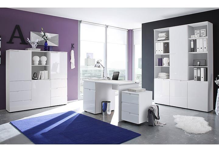 schreibtisch spice in weiss hochglanz 120 cm breit buerotisch. Black Bedroom Furniture Sets. Home Design Ideas