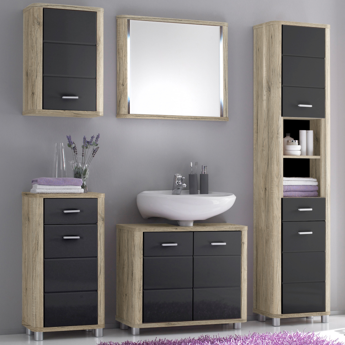 badezimmer vital bad kommode hochschrank unterschrank. Black Bedroom Furniture Sets. Home Design Ideas
