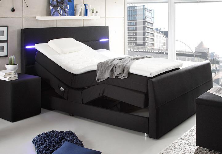 boxspringbett nebraska bett doppelbett in schwarz mit motor led und topper 180. Black Bedroom Furniture Sets. Home Design Ideas