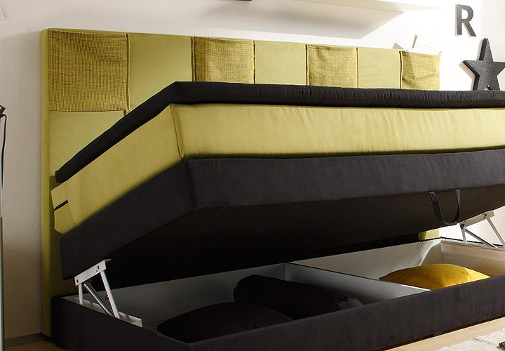 boxspringbett kid poket bett kinderbett in schwarz gr n. Black Bedroom Furniture Sets. Home Design Ideas