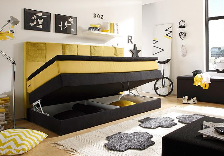 boxspringbett kid poket bett kinderbett in schwarz und gelb mit topper 90x200 eur 579 95. Black Bedroom Furniture Sets. Home Design Ideas