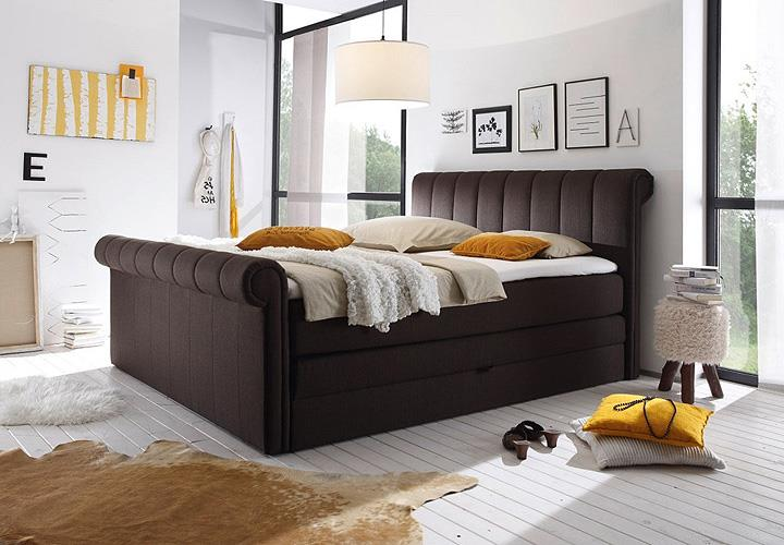 boxspringbett 3 california schlafzimmerbett bett braun. Black Bedroom Furniture Sets. Home Design Ideas