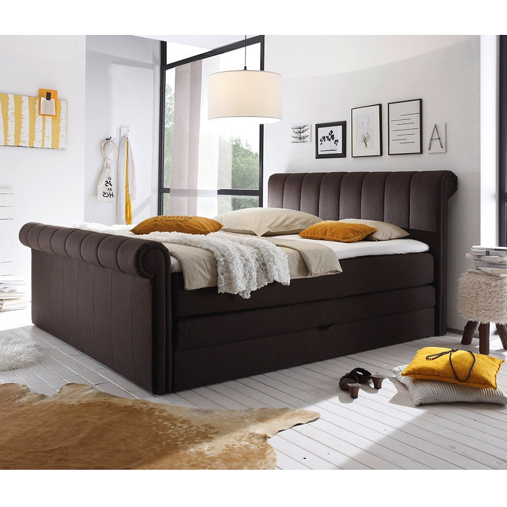 boxspringbett 3 california schlafzimmerbett bett braun topper bettkasten 180x200 ebay. Black Bedroom Furniture Sets. Home Design Ideas
