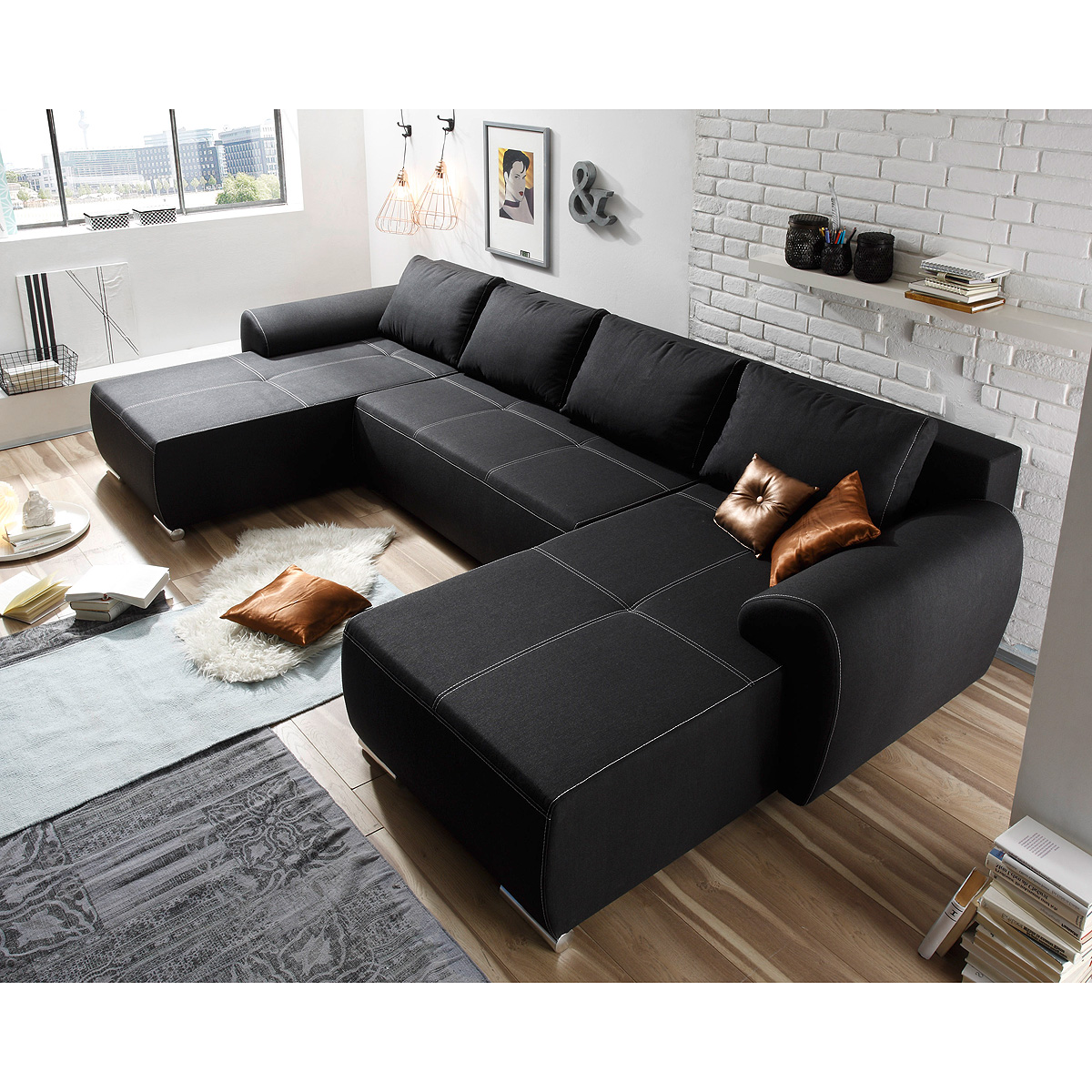 edle schlafcouch polster sofa ecksofa wohnlandschaft bettfunktion sofas couch ebay. Black Bedroom Furniture Sets. Home Design Ideas