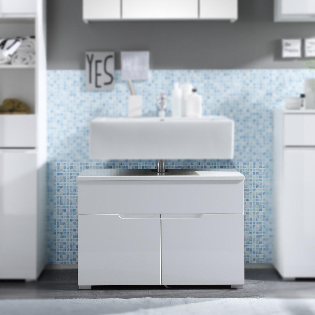 waschbeckenunterschrank spice badezimmer badm bel bad schrank wei hochglanz eur 89 95. Black Bedroom Furniture Sets. Home Design Ideas