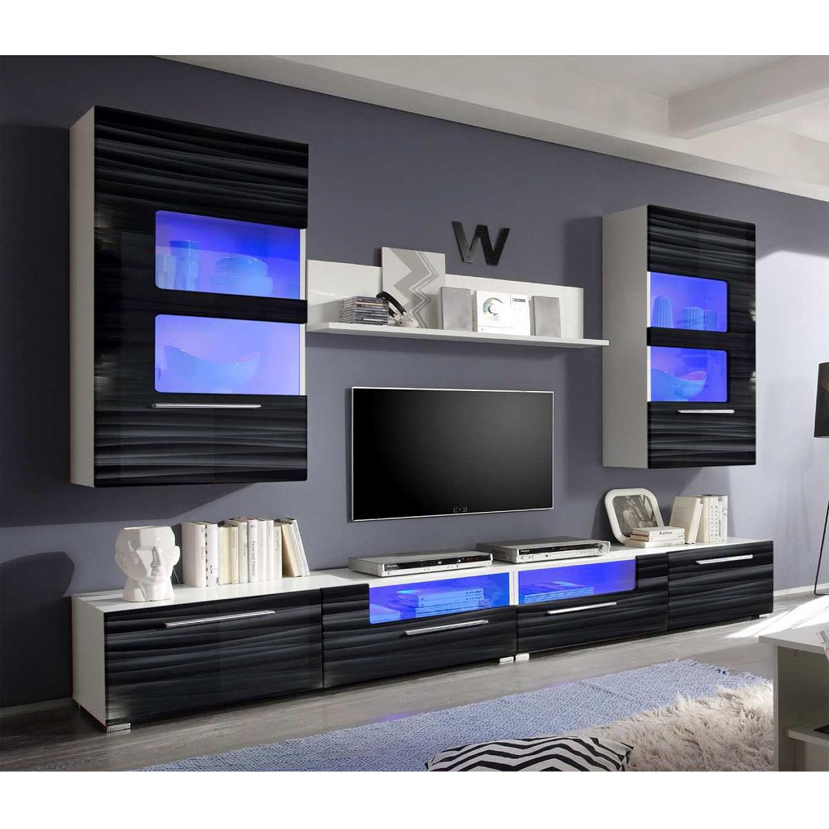 wohnwand corner anbauwand wohnzimmer sahara schwarz 3d folie wei mit led ebay. Black Bedroom Furniture Sets. Home Design Ideas