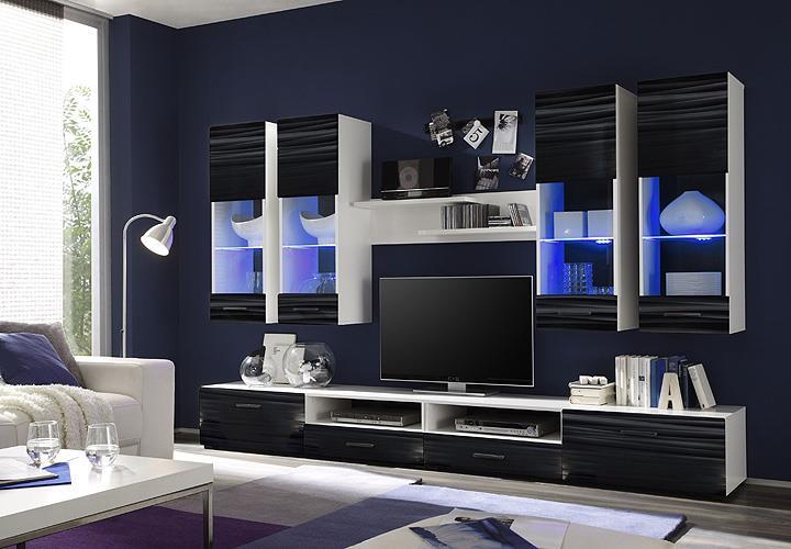 Wohnwand Attac 4 Anbauwand Wohnzimmer Sahara schwarz 3D Folie weiß ...