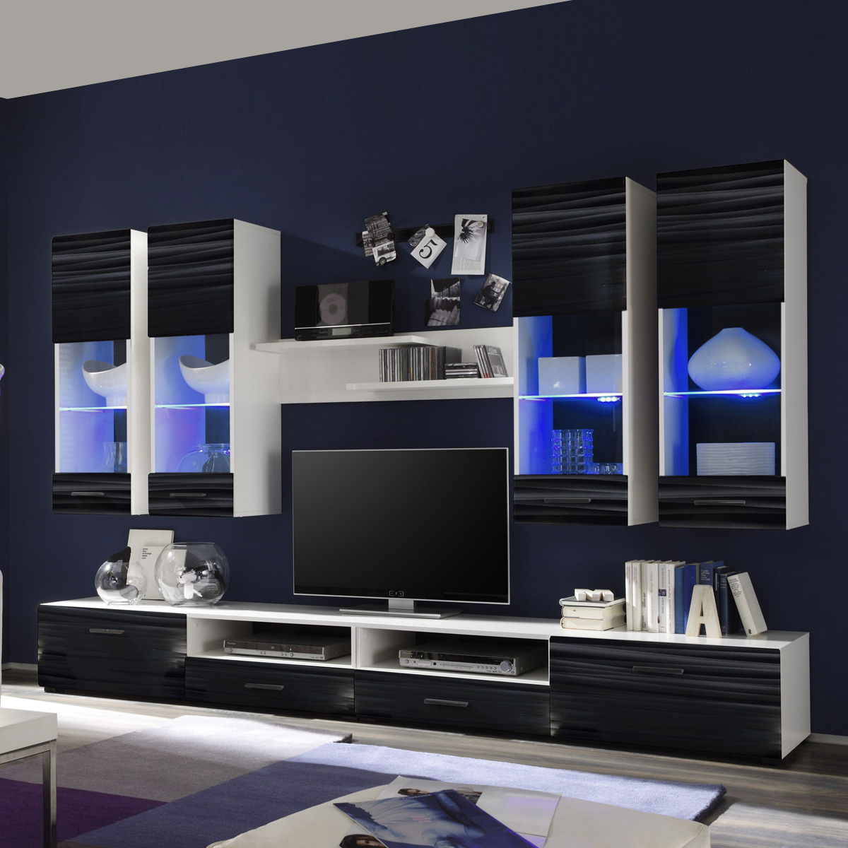 wohnwand attac 4 anbauwand wohnzimmer sahara schwarz 3d folie wei mit led ebay. Black Bedroom Furniture Sets. Home Design Ideas