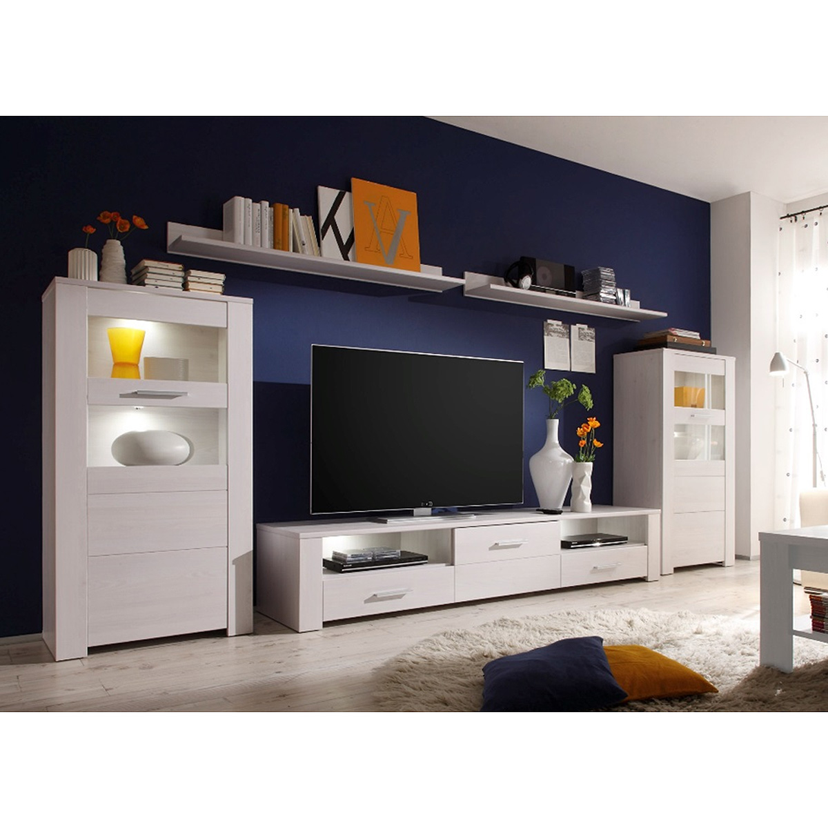 wohnwand 1 time anbauwand wohnkombi wohnzimmer in sibiu l rche wei mit led ebay. Black Bedroom Furniture Sets. Home Design Ideas