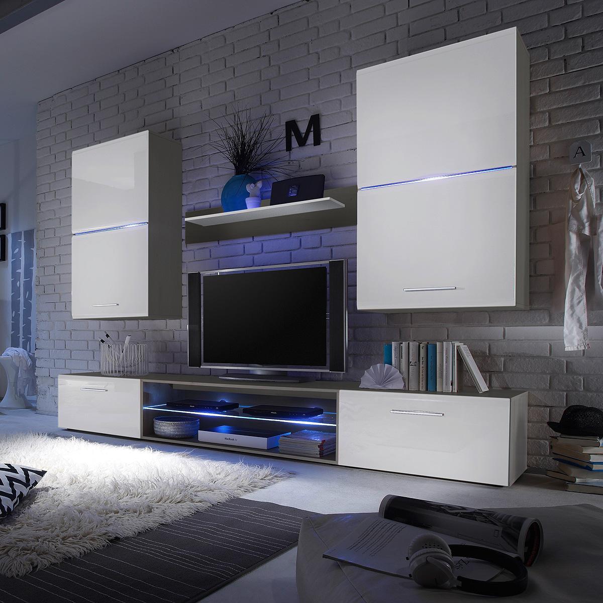 wohnwand blade 2 anbauwand wohnzimmer wohnkombi wei hochglanz titan mit led. Black Bedroom Furniture Sets. Home Design Ideas