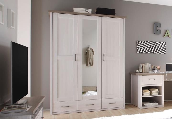 kleiderschrank luca jugendzimmer pinie wei absetzung tr ffel 3 trg mit spiegel ebay. Black Bedroom Furniture Sets. Home Design Ideas