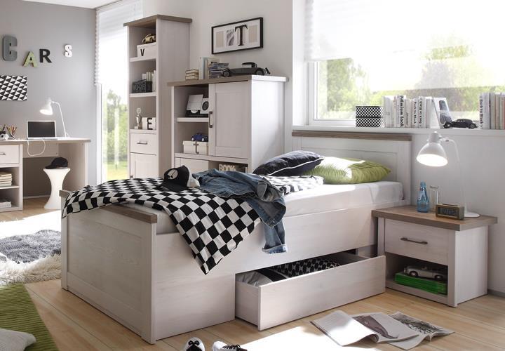 jugendzimmer luca 7 teilig pinie wei mit schreibtisch regal tv board highboard ebay. Black Bedroom Furniture Sets. Home Design Ideas