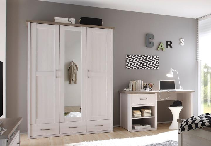 jugendzimmer luca 7 teilig pinie wei mit schreibtisch regal tv board highboard ebay. Black Bedroom Furniture Sets. Home Design Ideas
