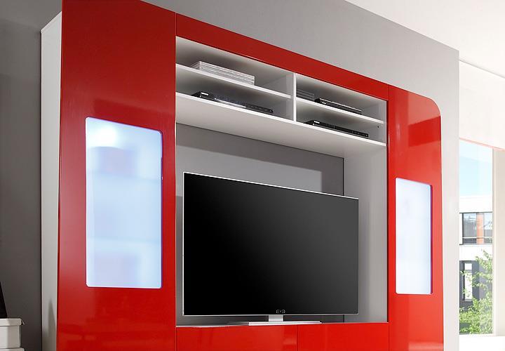 Mediawand kino 1 wohnwand anbauwand mediacenter rot for Wohnwand rot