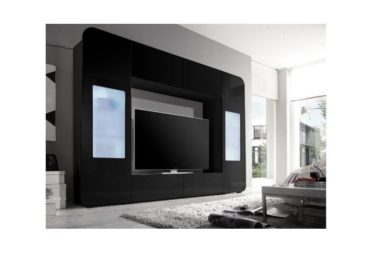 mediawand kino 2 wohnwand anbauwand mediacenter schwarz. Black Bedroom Furniture Sets. Home Design Ideas