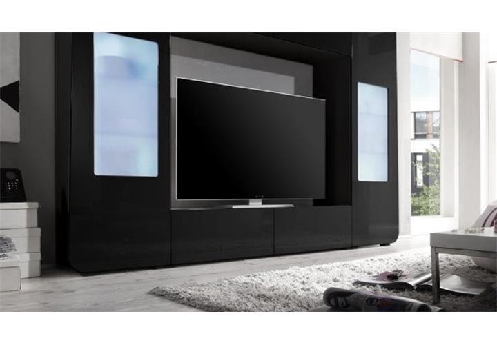 mediawand kino 2 wohnwand anbauwand mediacenter schwarz hochglanz mit led ebay. Black Bedroom Furniture Sets. Home Design Ideas