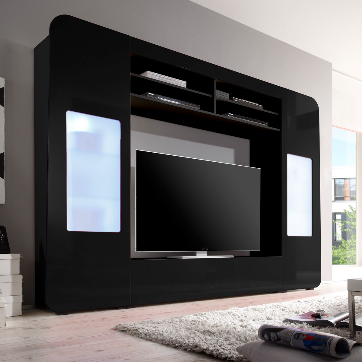 mediawand kino 1 wohnwand anbauwand mediacenter schwarz hochglanz mit led ebay. Black Bedroom Furniture Sets. Home Design Ideas