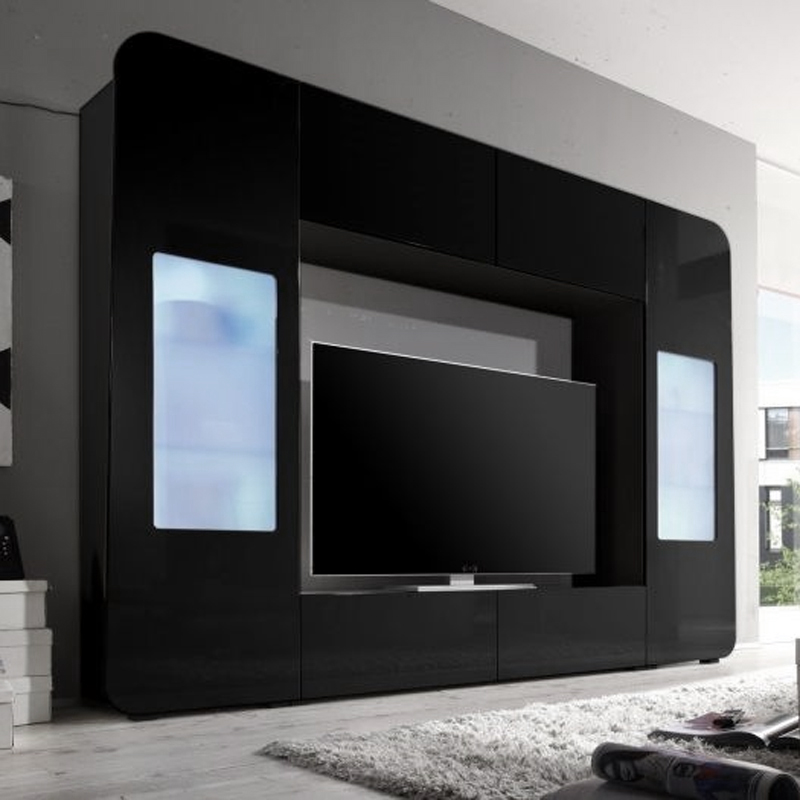 mediawand kino 2 wohnwand anbauwand mediacenter schwarz hochglanz mit led eur 329 95 picclick de. Black Bedroom Furniture Sets. Home Design Ideas