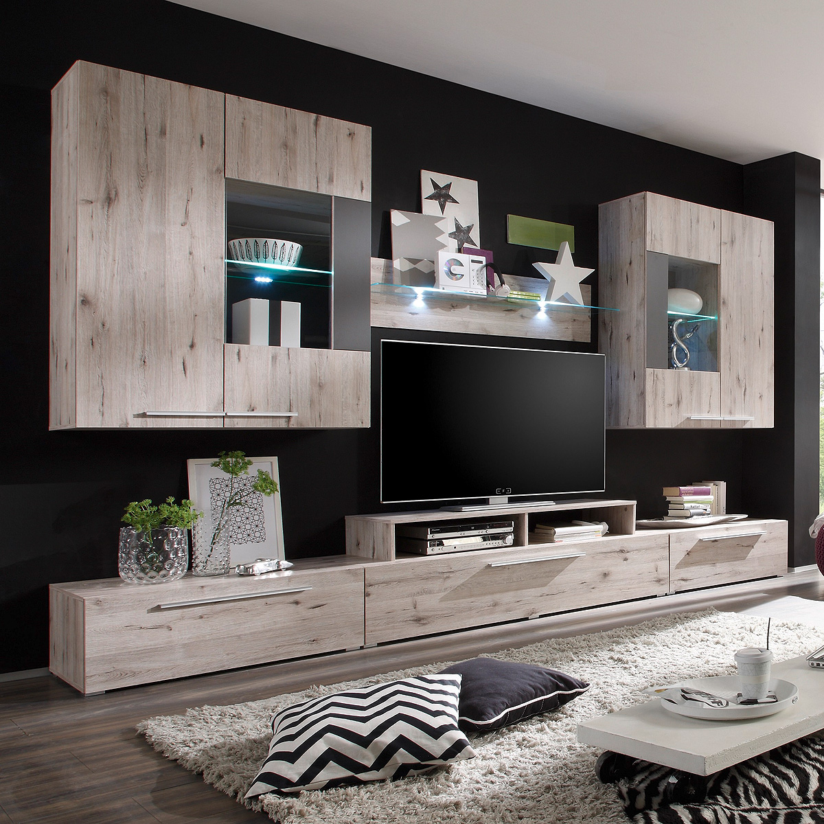 wohnwand birdy anbauwand wohnkombi wohnzimmer in sandeiche inkl led ebay. Black Bedroom Furniture Sets. Home Design Ideas
