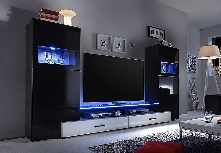 wohnwand cave anbauwand wohnzimmer wohnkombi schwarz. Black Bedroom Furniture Sets. Home Design Ideas