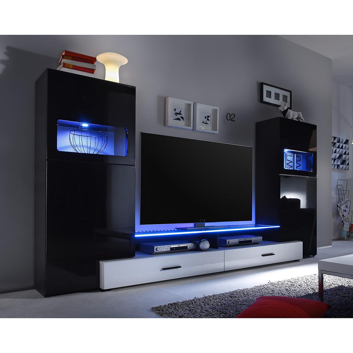 wohnwand cave anbauwand wohnzimmer wohnkombi schwarz hochglanz wei mit led eur 389 95. Black Bedroom Furniture Sets. Home Design Ideas