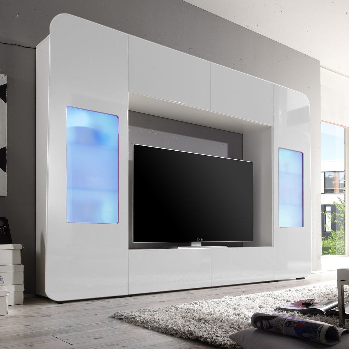 mediawand kino wohnwand anbauwand mit led in hochglanz. Black Bedroom Furniture Sets. Home Design Ideas