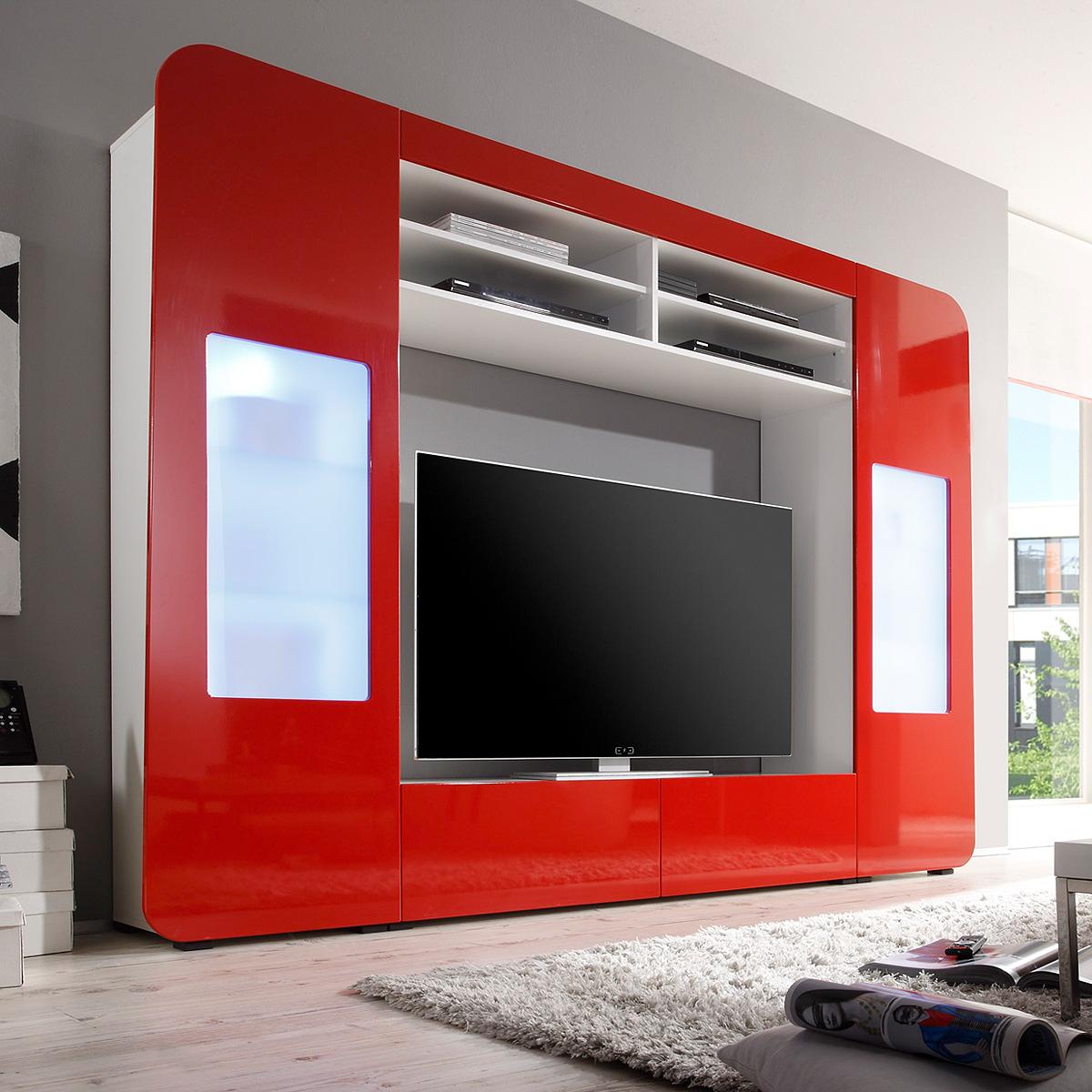 mediawand kino 2 wohnwand anbauwand mit led in hochglanz wei rot oder schwarz. Black Bedroom Furniture Sets. Home Design Ideas