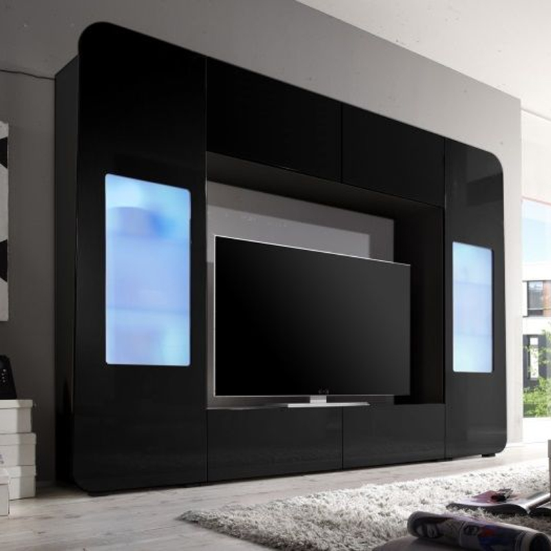 mediawand kino 2 wohnwand anbauwand mit led in hochglanz wei rot oder schwarz. Black Bedroom Furniture Sets. Home Design Ideas