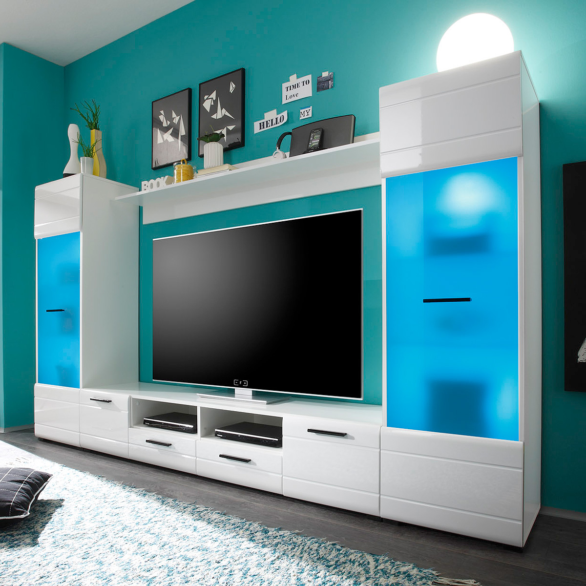 wohnwand switch mediawand anbauwand in wei hochglanz inkl led ebay. Black Bedroom Furniture Sets. Home Design Ideas