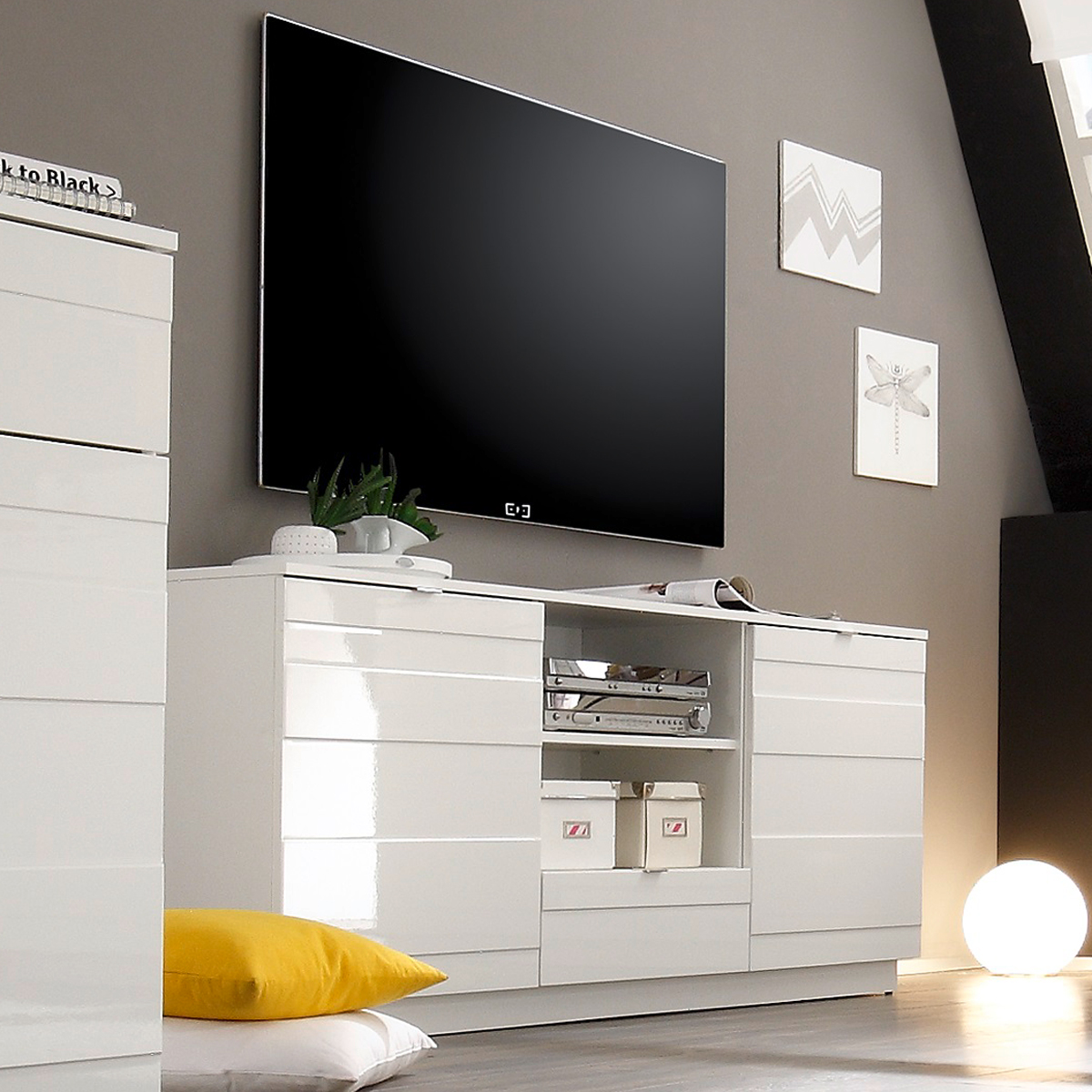 lowboard relief tv board unterschrank kommode in wei hochglanz reliefoptik ebay. Black Bedroom Furniture Sets. Home Design Ideas