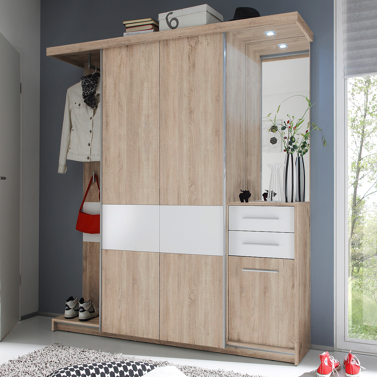 kompaktgarderobe swing garderobe flurm bel sonoma eiche wei mit led ebay. Black Bedroom Furniture Sets. Home Design Ideas