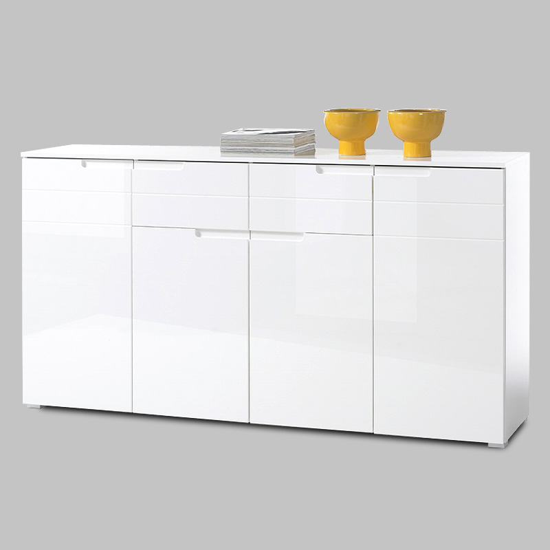 sideboard spice anrichte kommode schrank in wei hochglanz ebay. Black Bedroom Furniture Sets. Home Design Ideas