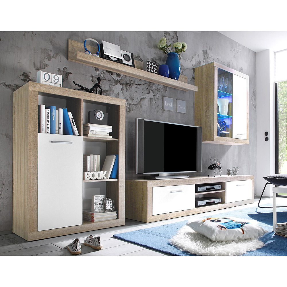 wohnwand shark anbauwand wohnkombi wohnzimmer sonoma eiche hell wei inkl led eur 179 95. Black Bedroom Furniture Sets. Home Design Ideas